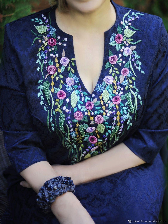 13613bbd1fddb0e Платья ручной работы. Нарядное платье с ручной вышивкой