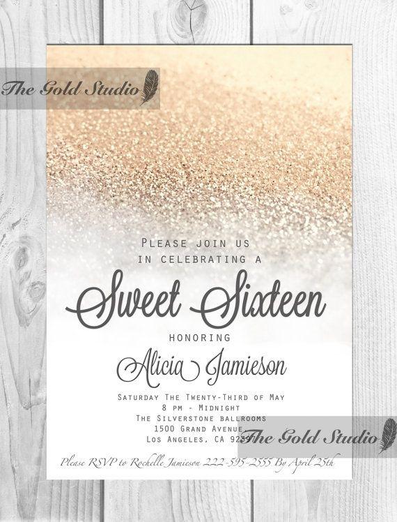White and Gold Sweet 16 Sixteen Invitation Elegant gold Glitter - fresh invitation birthday simple