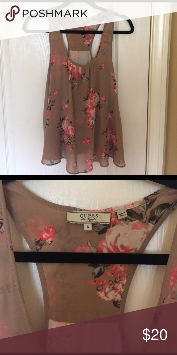 GUESS floral tank top 💌 Never worn! Perfect condition! 💌 Guess Tops Tank Tops