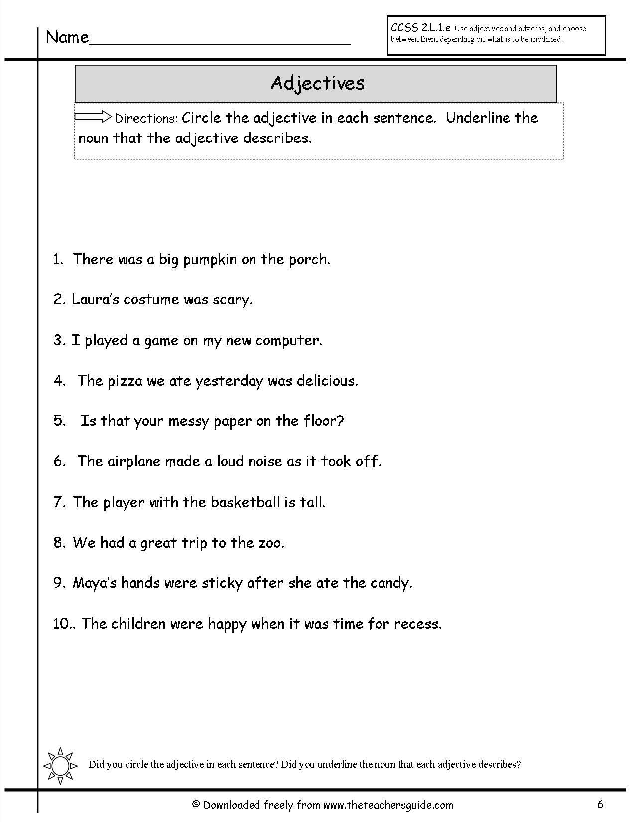 adjectivessix.jpg (1275×1650)   Kindergarten worksheets [ 1650 x 1275 Pixel ]