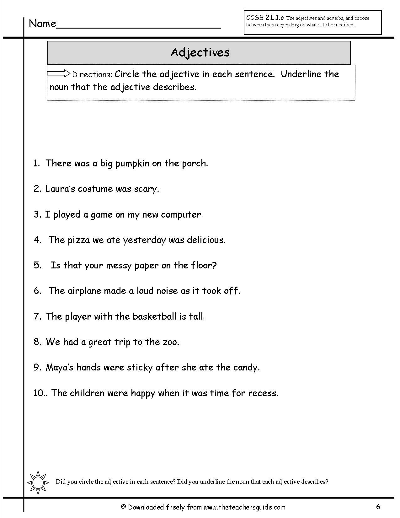 small resolution of adjectivessix.jpg (1275×1650)   Kindergarten worksheets