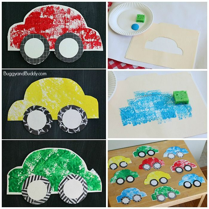 Paper car craft for kids using sponge painting pinterest for Sponge painting for kids pictures