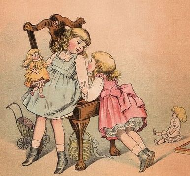 Child Playing with Doll Clip Art Lots more vintage goodies at vintagebookillustrations.com