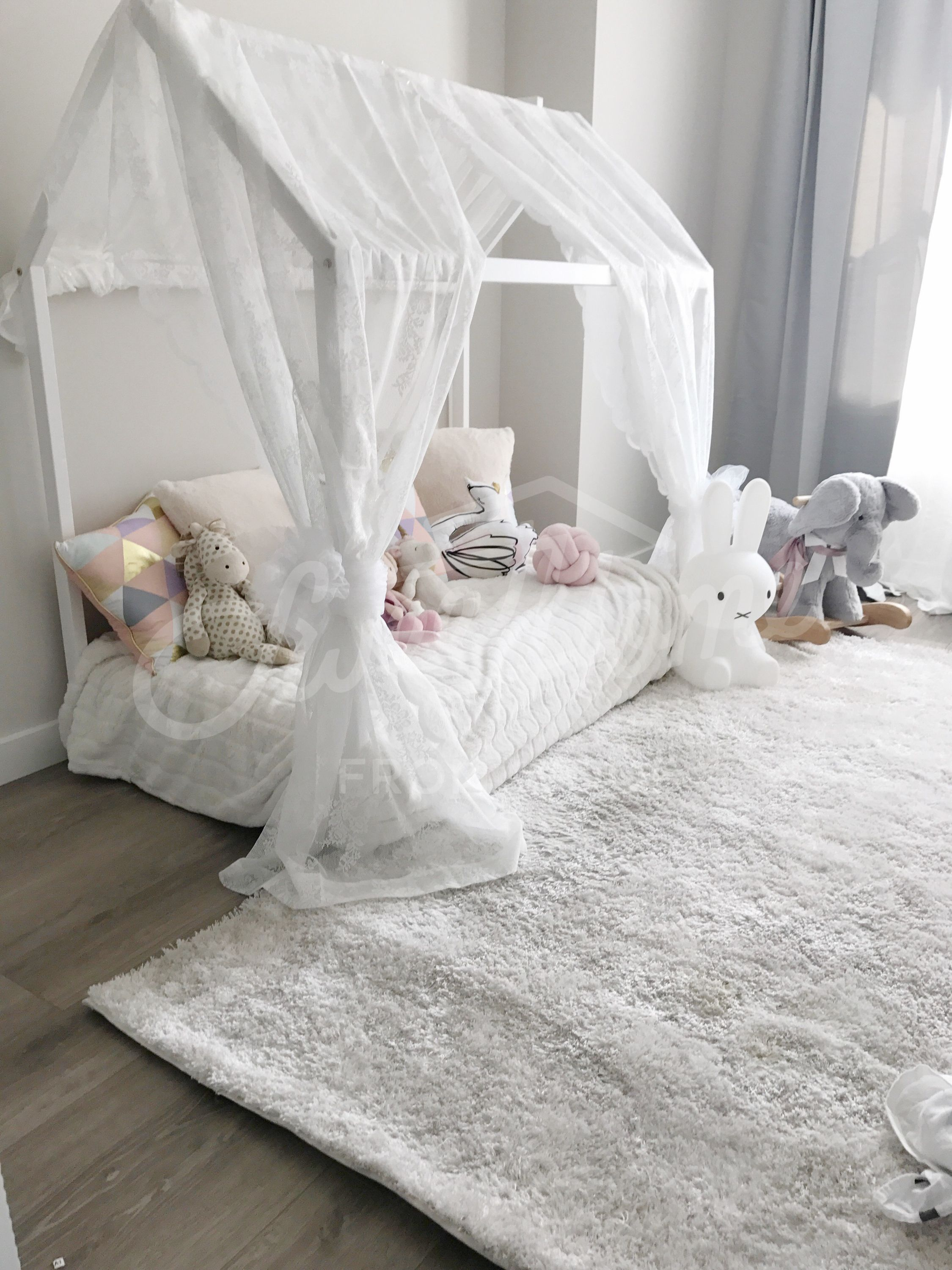 White Little Princess Room Toddler Bed House Shaped Bed Nursery Wood House Bed Bed Home Montessori Toy Frame Bed Original Be Bed Tent Toddler Rooms Kid Beds