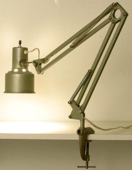 Vintage Green Industrial Adjustable Lamp Clamp On Side Desk Task ...