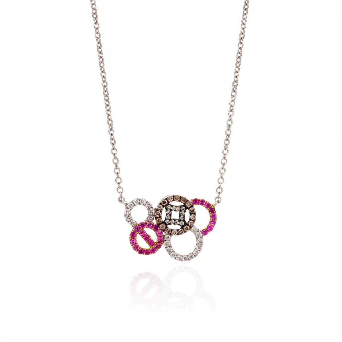 Coin multicircle necklace ct white gold set with white and