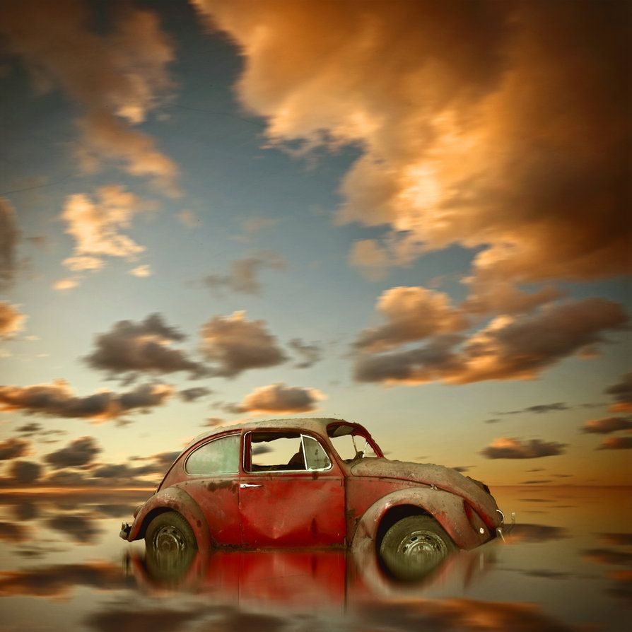 Old Car In A Sunset Scenery By ~Heizi-Designer On