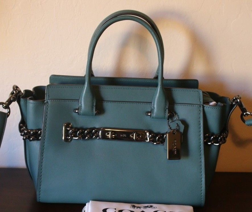 4bdcbde65174 COACH Swagger 27 Glovetanned Leather Dark Turquoise Gunmetal Hardware Purse   Coach  Satchel