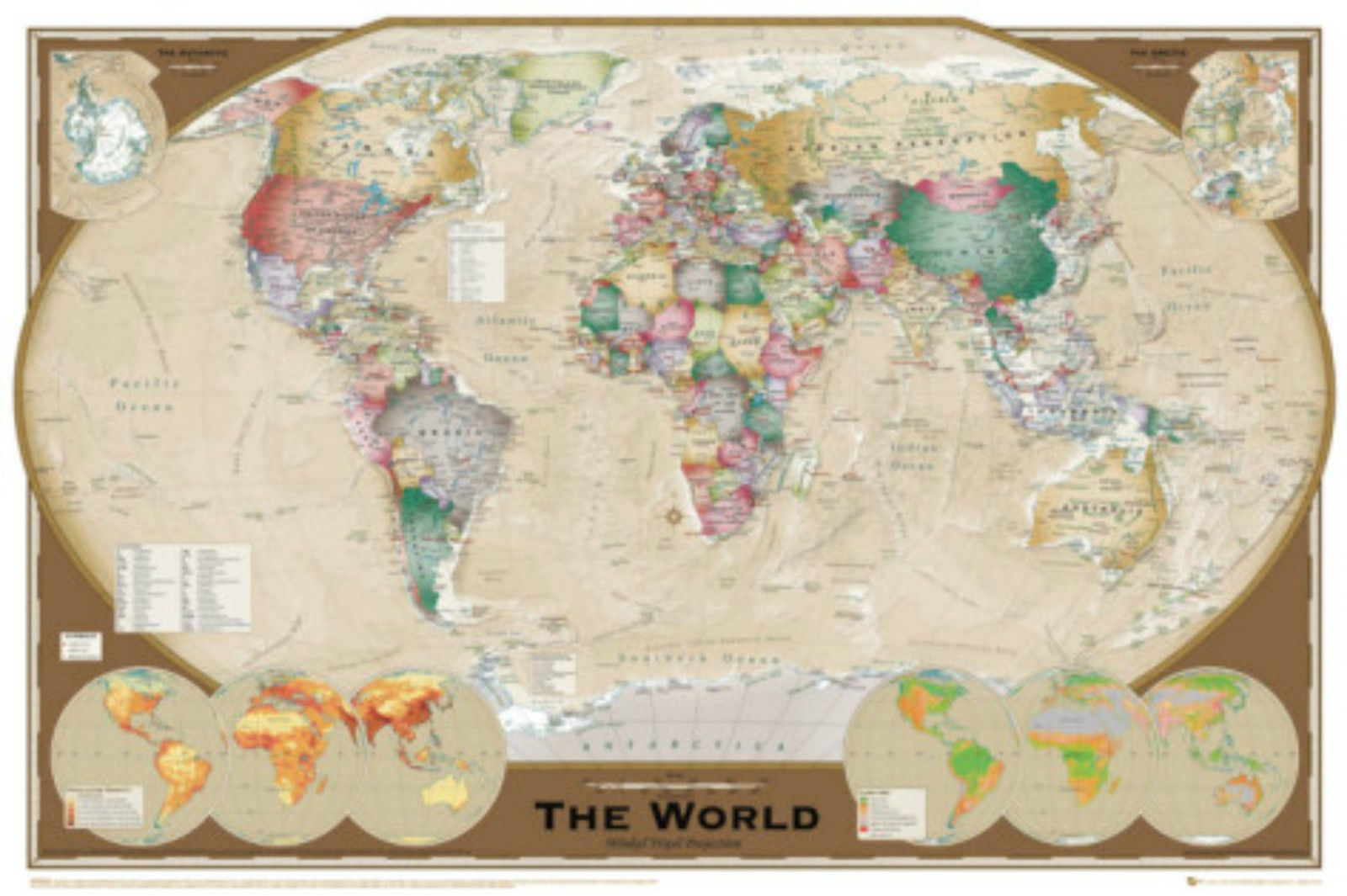 91.5X61cm World Map Vintage Style Poster Print 36X24