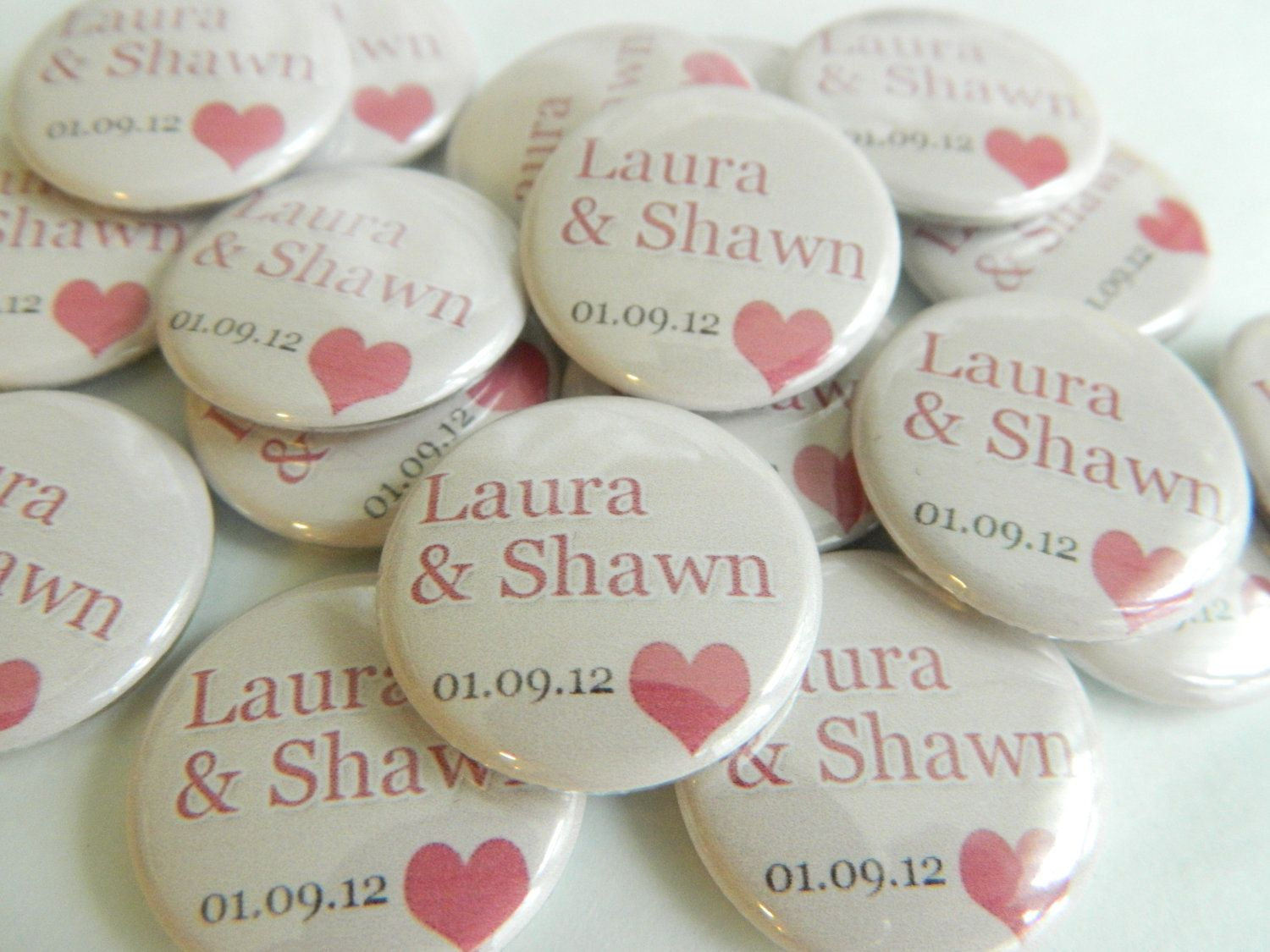 Wedding Favor Magnets or Buttons - Set of 25- Heart Design - Save ...