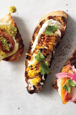 grilled corn, crema, + cilantro crostini