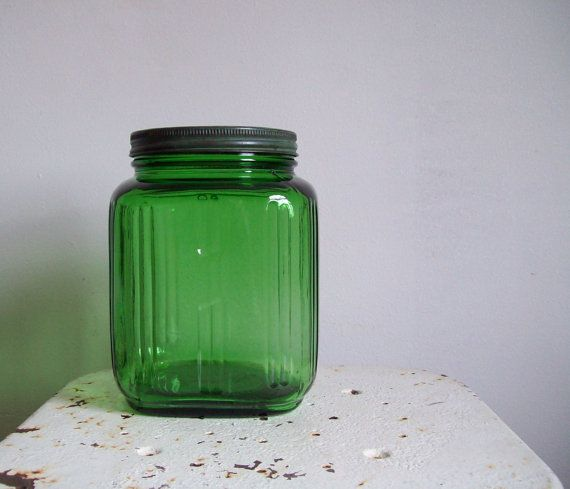 Wonderful Antique Forest Green Glass Jar Square Gallon Jar Ribbed With Lid Green  Kitchen