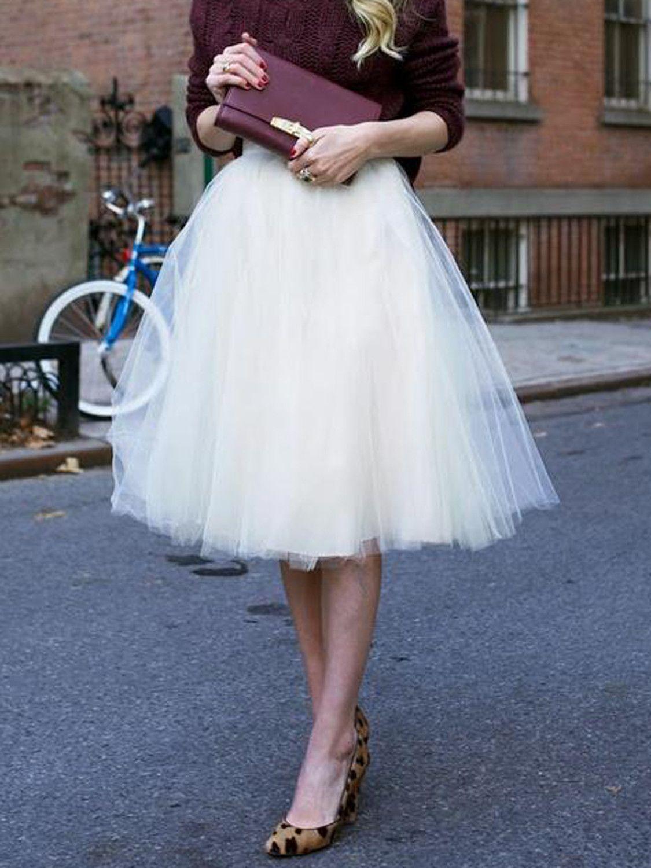 White High Waist Tulle Mesh Skater Skirt Tulle Fashion High Neck Long Sleeve [ 1500 x 1125 Pixel ]