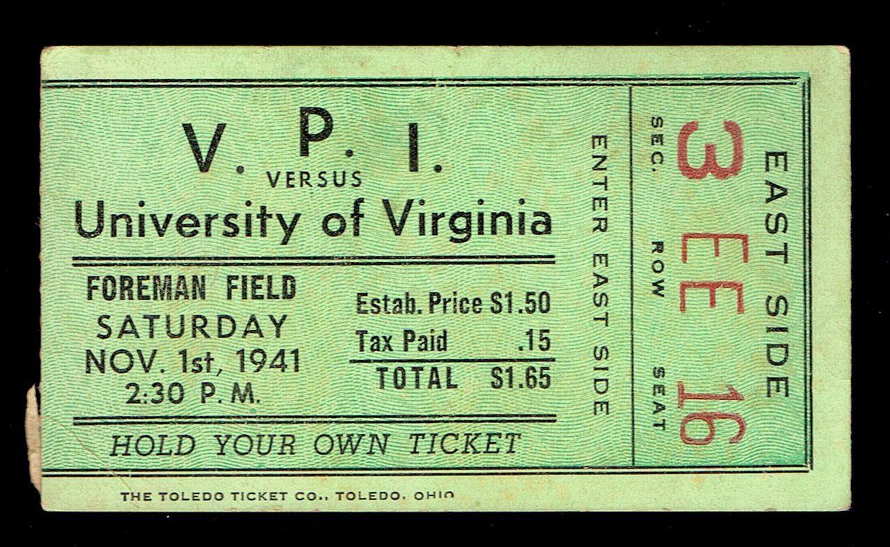 1941 VPI vs UVA football ticket (With images) Virginia