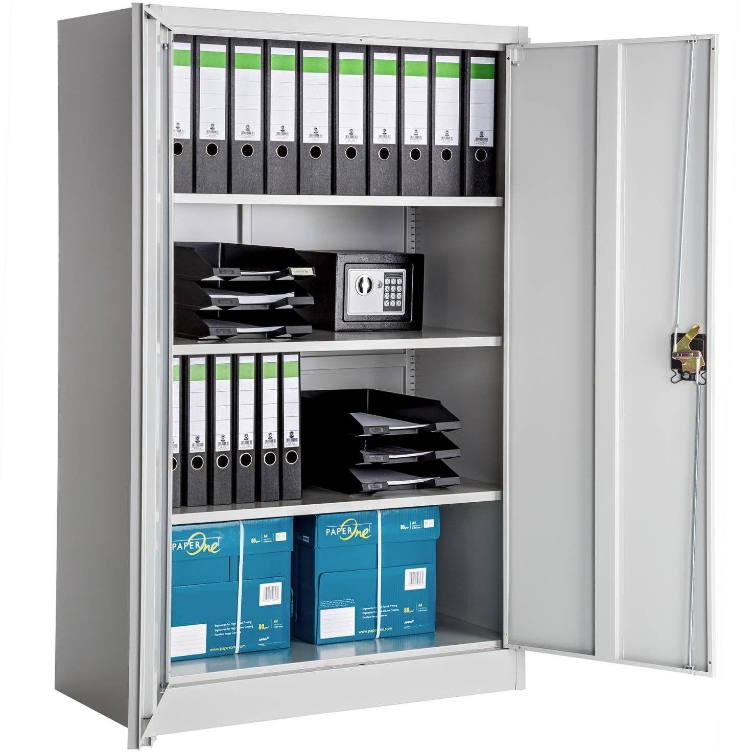 Armoire De Rangement Spacieuse Gris Cielterre Commerce Armoire Rangement Armoire Bureau Meuble Rangement Papier