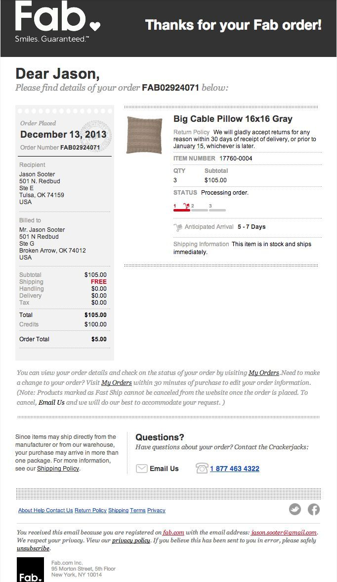 Order confirmation email from Go Daddy | Order confirmation ...