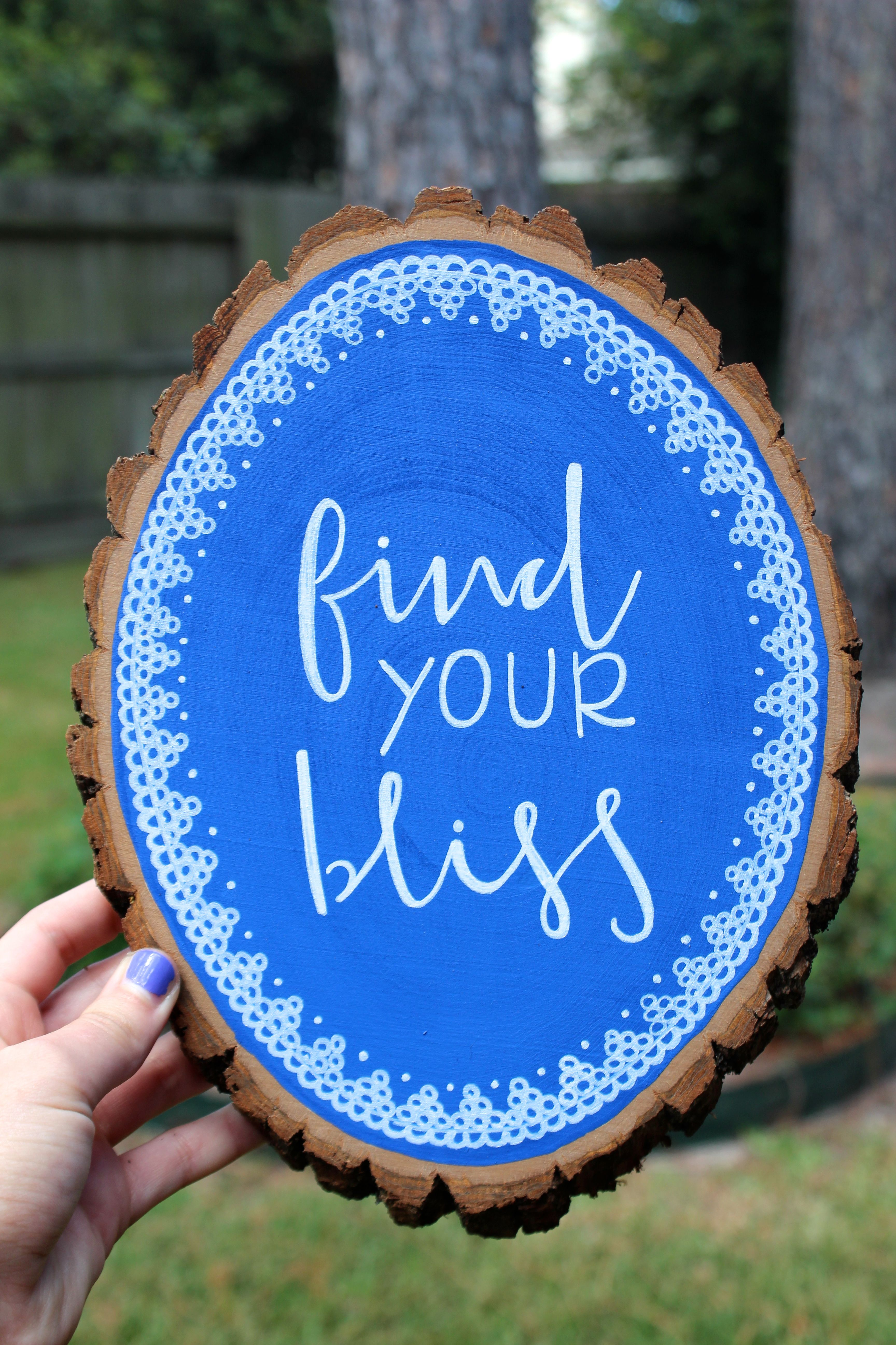 Find your bliss wood canvas quote canvas canvas wood slice
