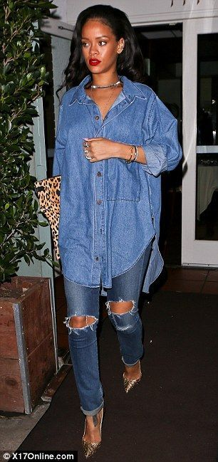 2addfda01c3 Rihanna is killing it in this denim tunic!! Now you can rock one too, click  here! #shopthemint