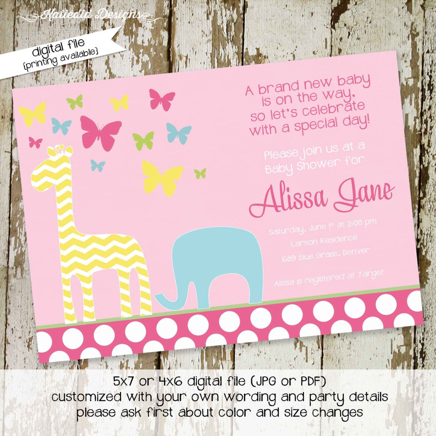 Safari Baby Shower Invitation Girl Butterfly Crib Bedding Sprinkle Diaper