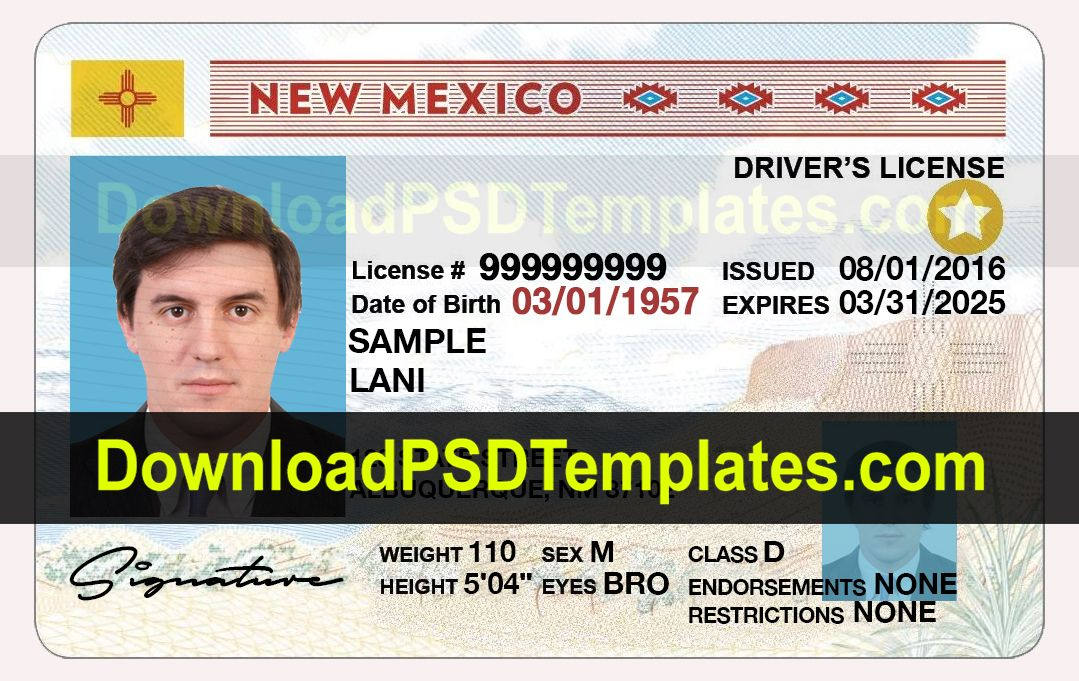 New Mexico Driver License Template PSD Drivers license