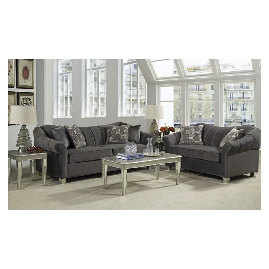 Add Mid Century Modern Style To Your Living Room With The Piccolo Gray Sofa Such As Rolled Arms Channe Hamptons Living Room Living Room Sofa Living Room Sets