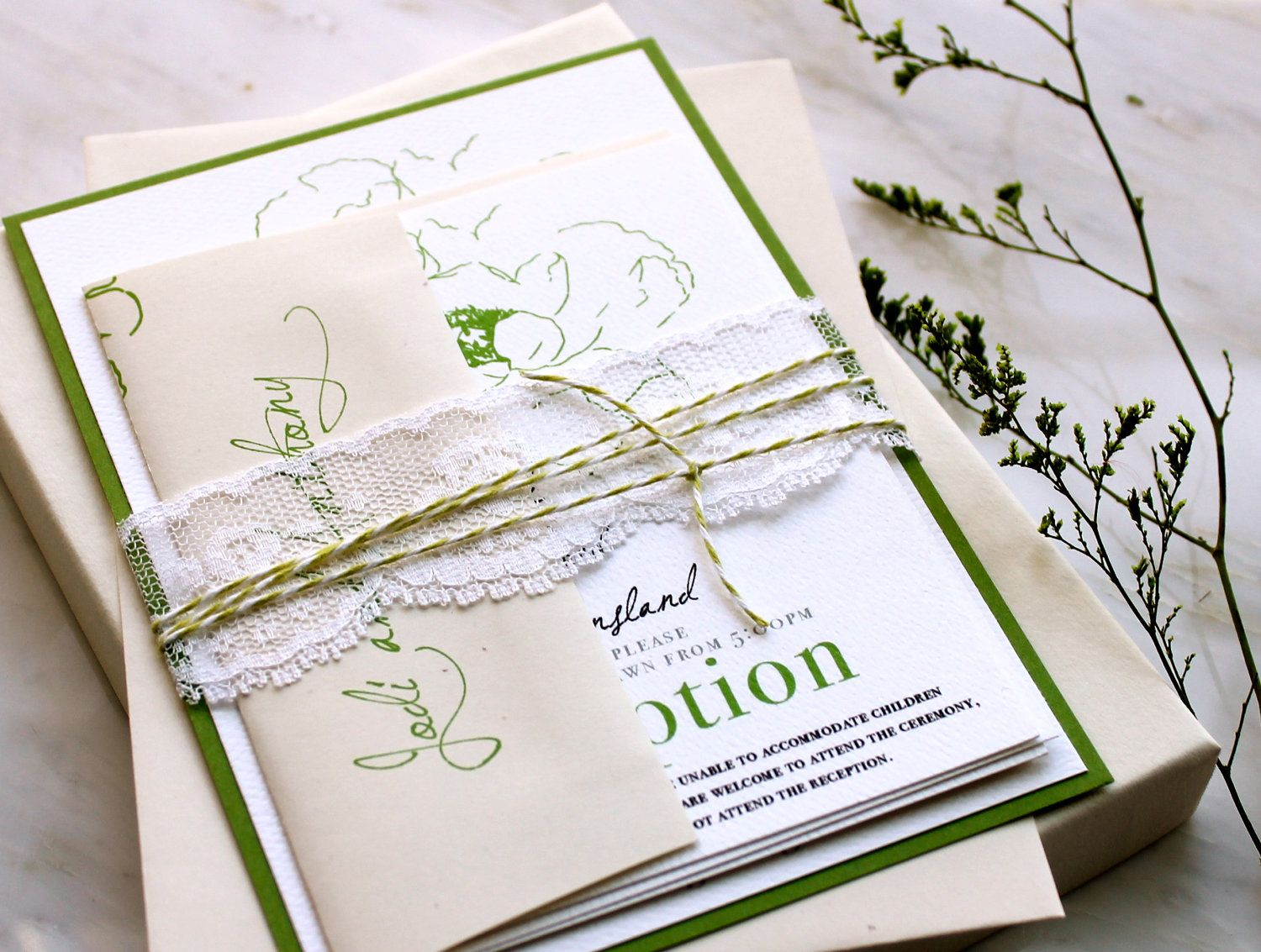 Simple Green - Garden Wedding Invitations With Green, Baker Twine ...