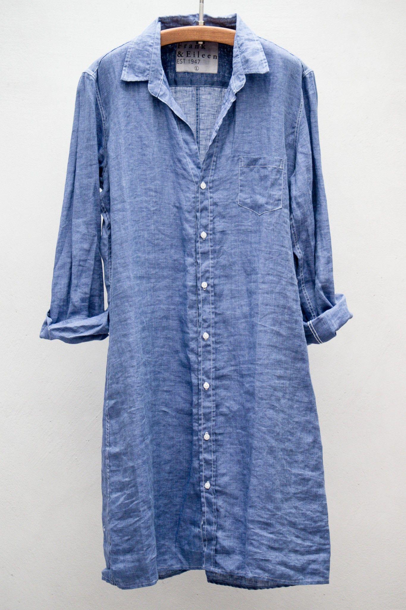 Heist Frank Eileen Shirt Dress Dark Blue Linen Fall Capse