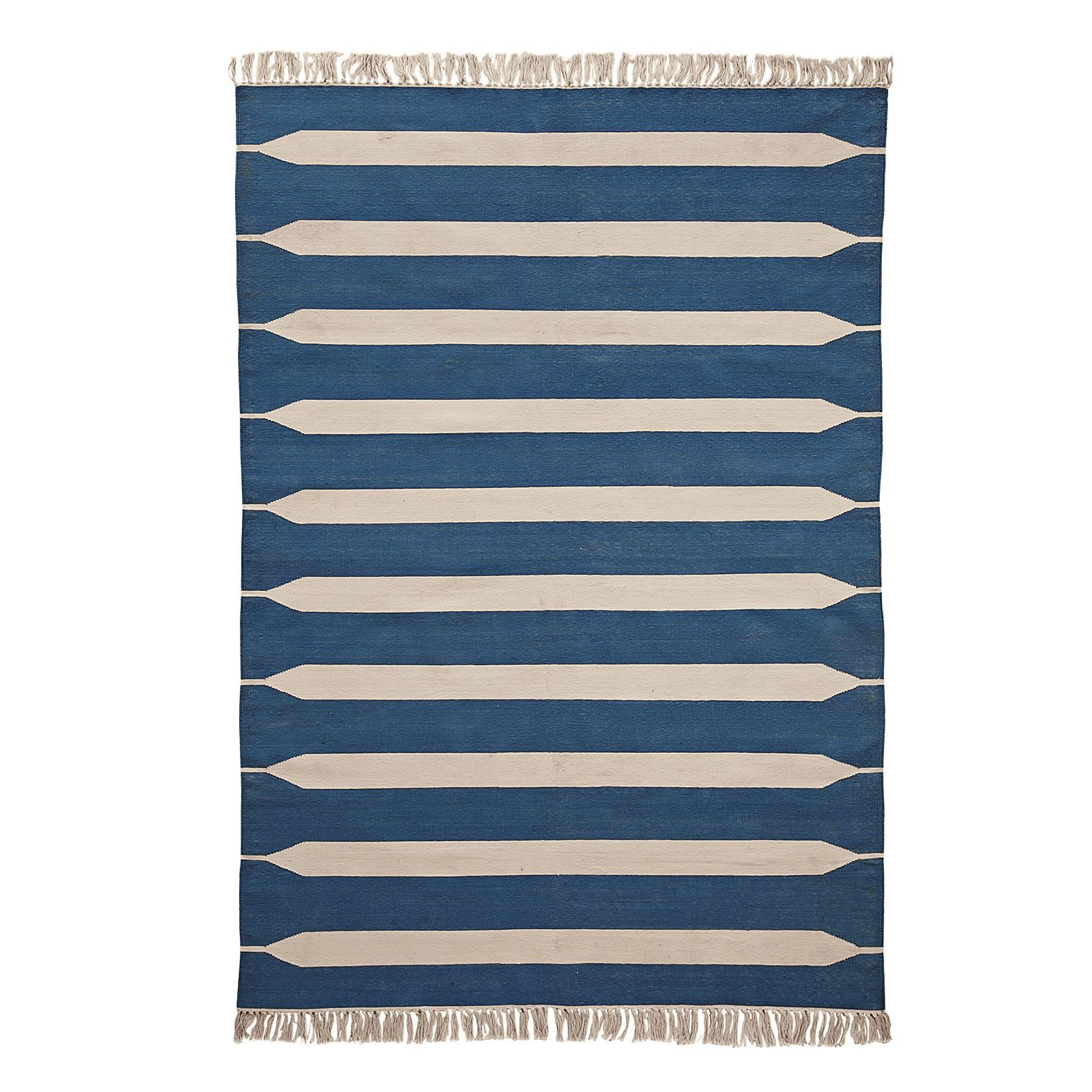 Paddle Stripe Cotton Dhurrie Indigo Serena Lily Dhurrie Rugs Dhurrie Striped Rug