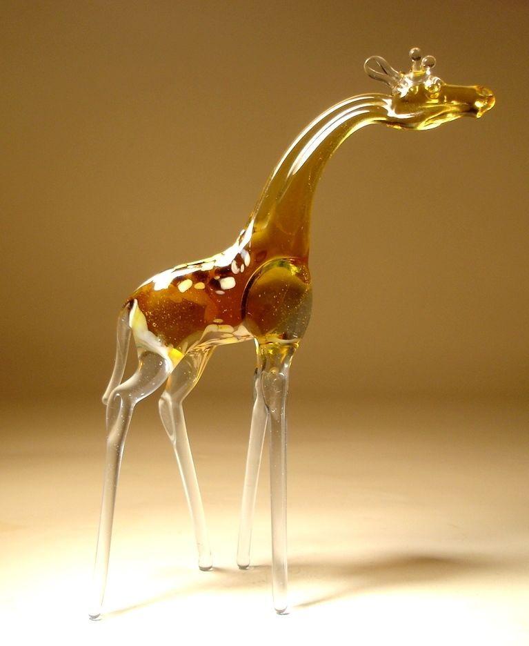 """Blown Glass /""""Murano/"""" Art Figurine Wild Animal Standing GIRAFFE"""
