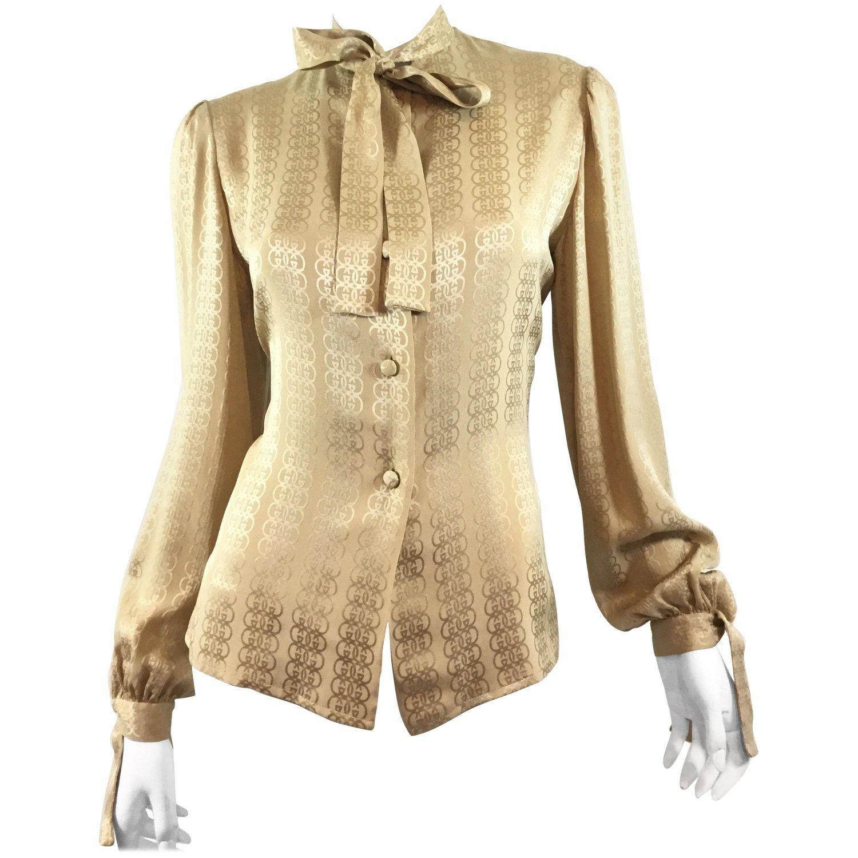 7bcad0cb Gucci Silk Monogram Vintage Blouse with Neck Tie | My 1stdibs ...