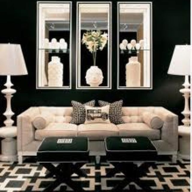 Stylish home: Mirrored furniture | Stools, Living rooms and Room