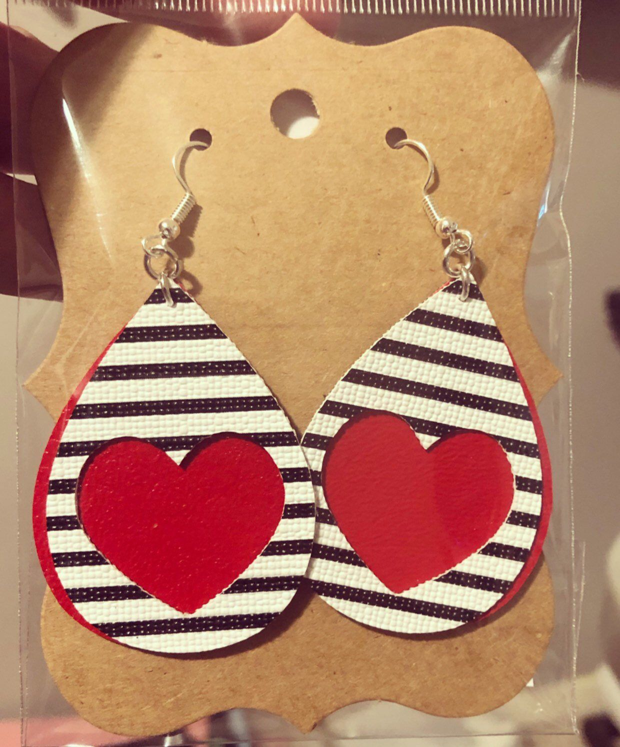 Photo of Black White Stripe Red Heart Faux Leather Earrings CHD Heart warrior Valentine's Day