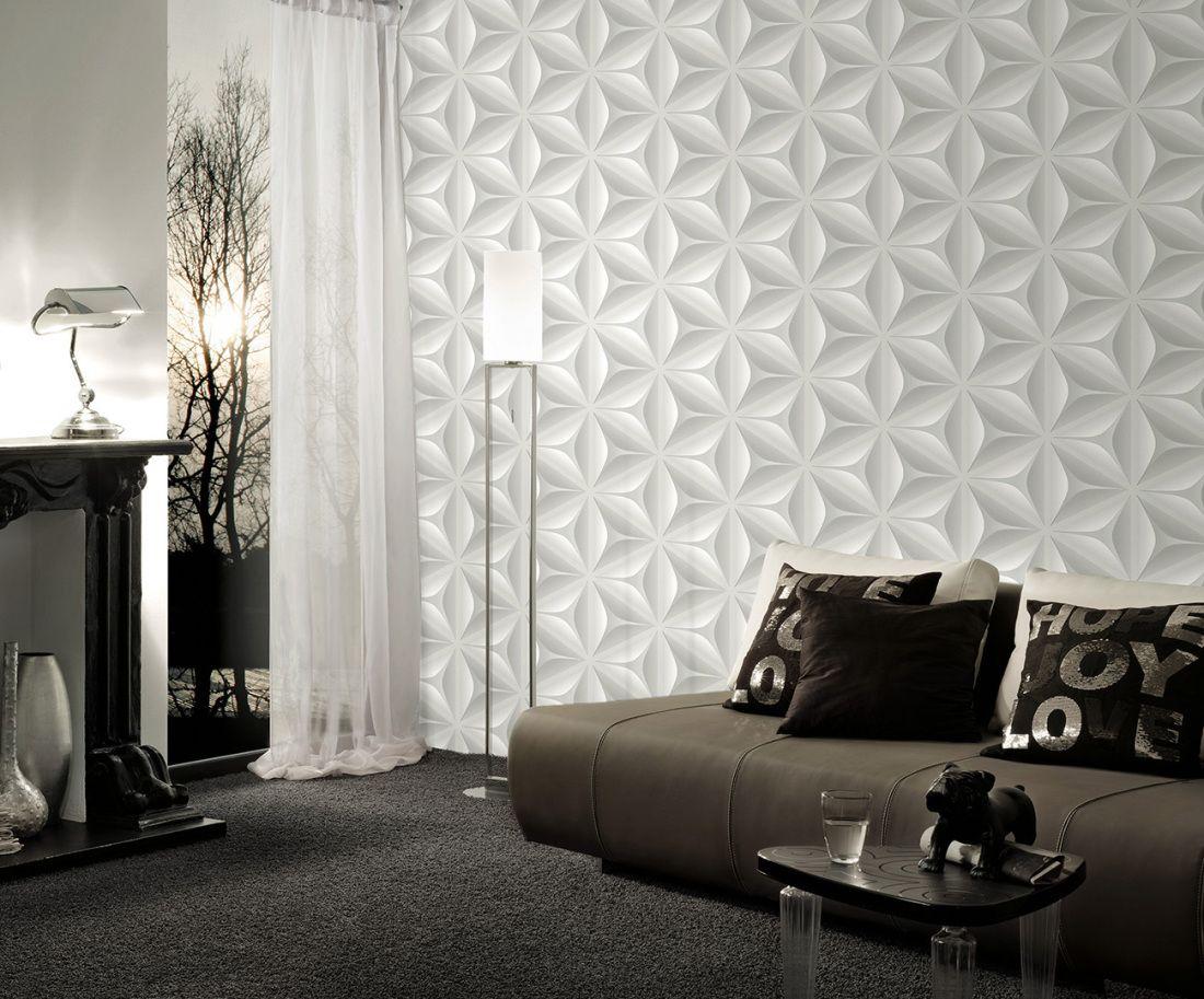 livingwalls tapete 960421: tapete, grau, floral, grafik, modern