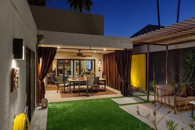 Sunbrella Outdoor Curtains Patio Modern With Backyard Ceiling Fan Courtyard  Covered Patio Desert Modern Exterior