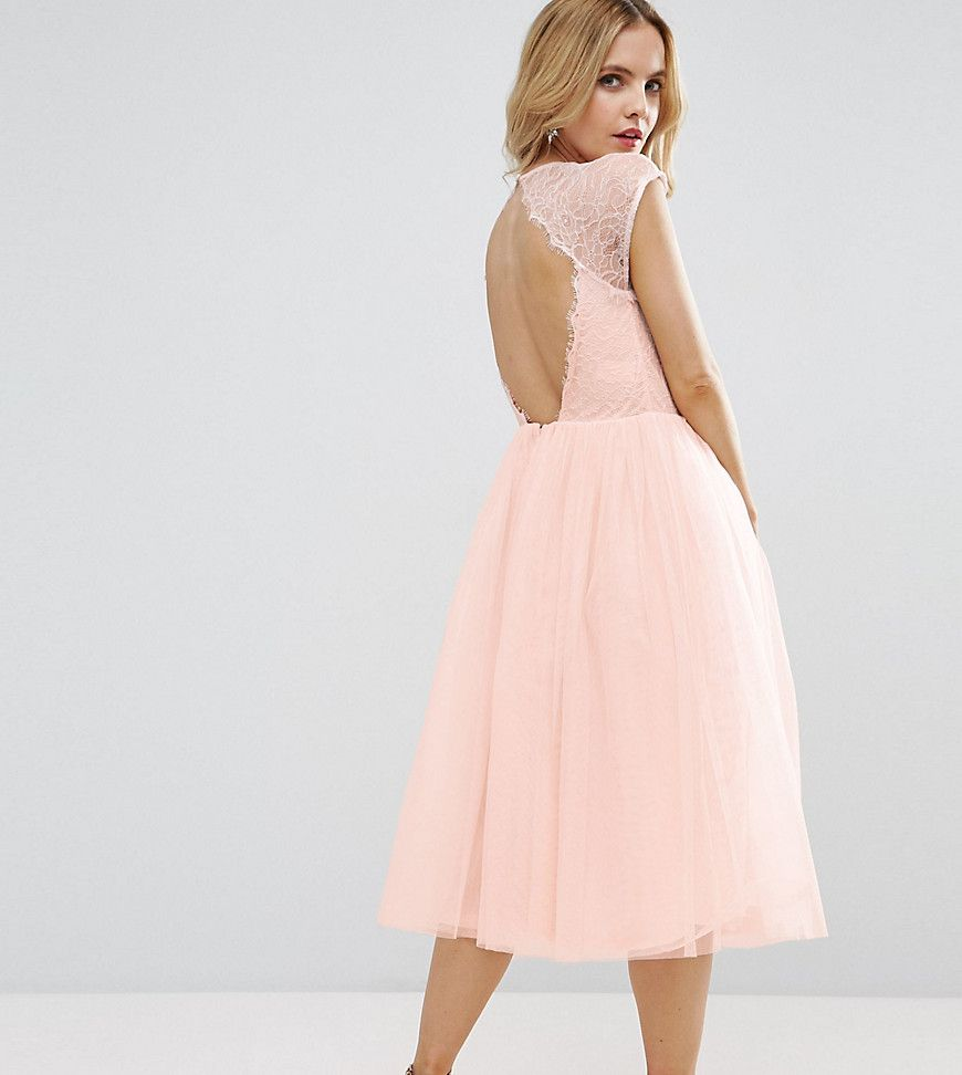 PETITE PREMIUM Lace Tulle Midi Prom Dress | Pinterest