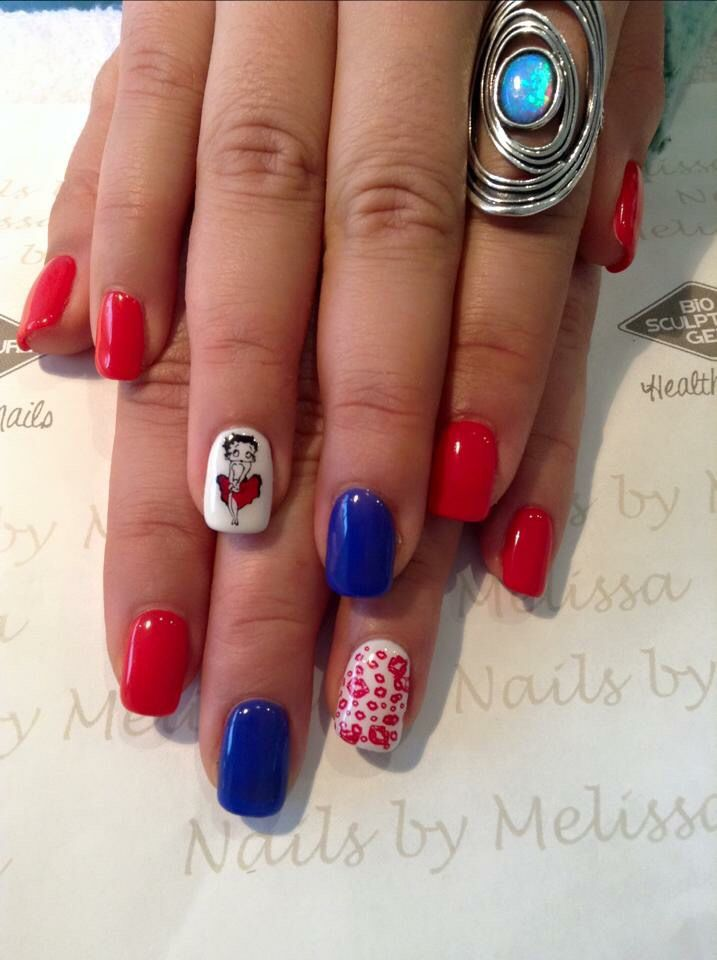 Betty Boop Nail Design Fourth Of July Colors Fun And Creative