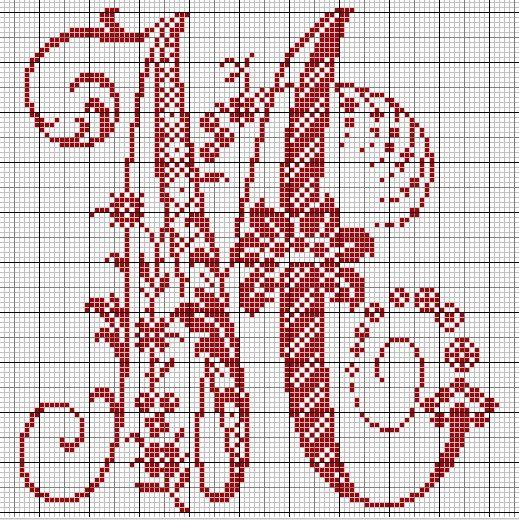 Favorit Le Monde de Zabou: Grille gratuite lettre M | Monogrammes points  XE09