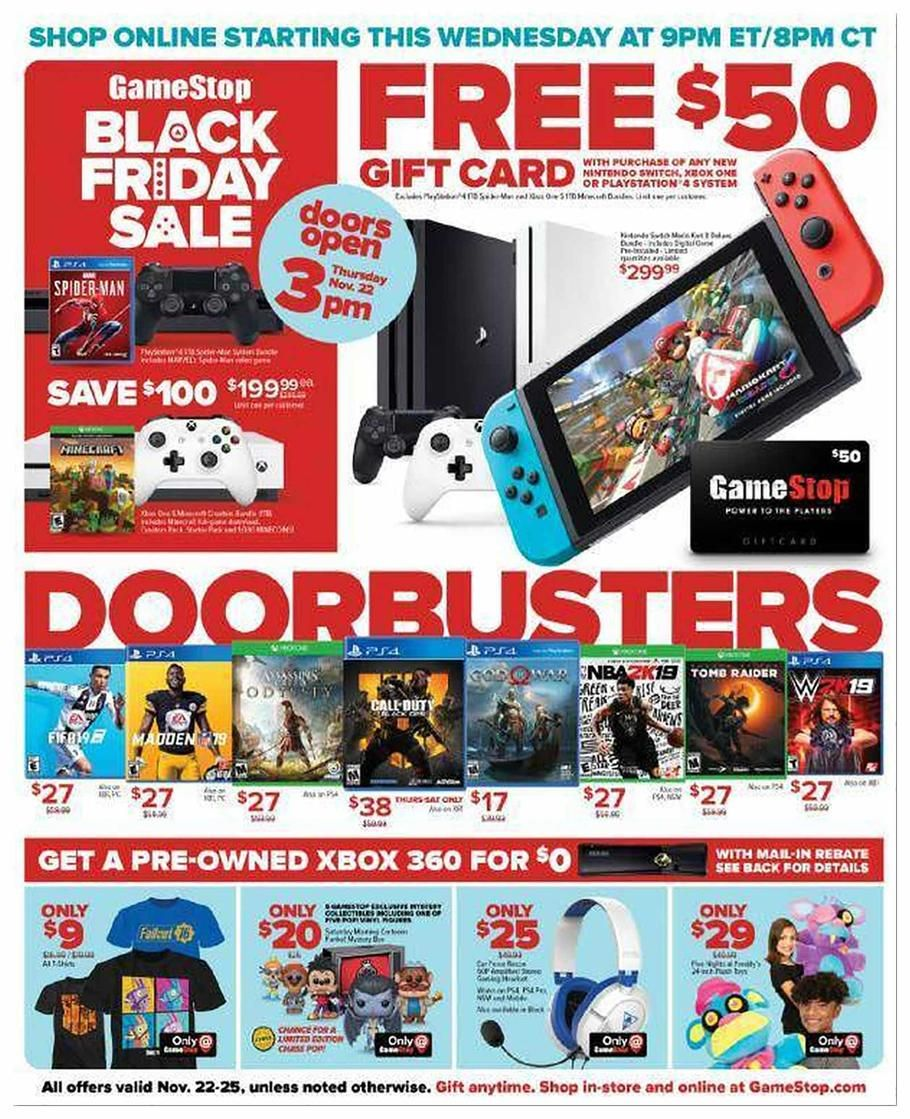 Gamestop Black Friday 2018 Ads Scan Deals And Sales See The Gamestop Black Friday Ad 2018 At 101blackfriday Com Black Friday Ads Black Friday Gift Card Sale