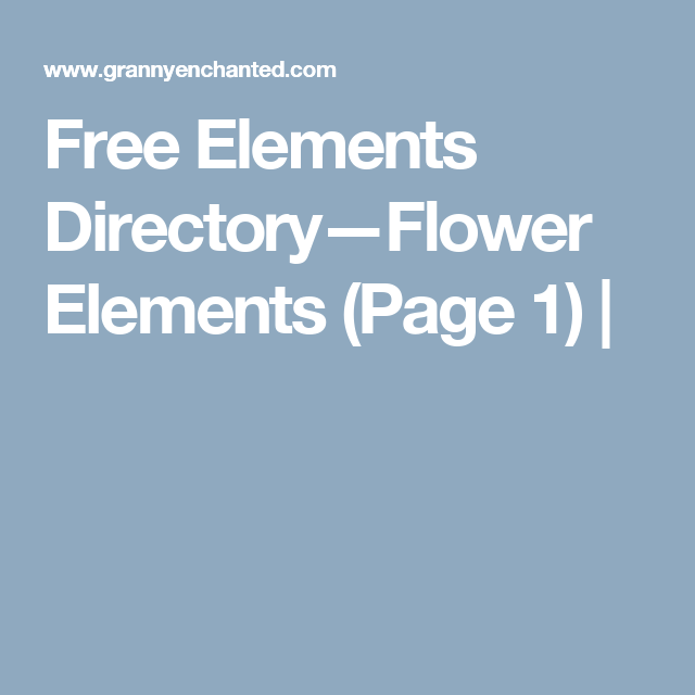 Free Elements Directory—Flower Elements (Page 1) |
