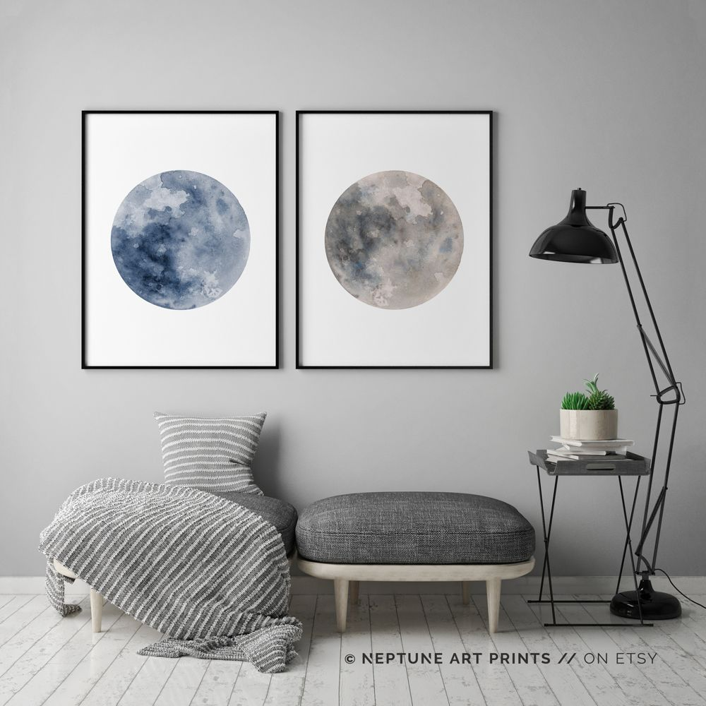 Blue full moon print blue watercolor moon set of la luna full