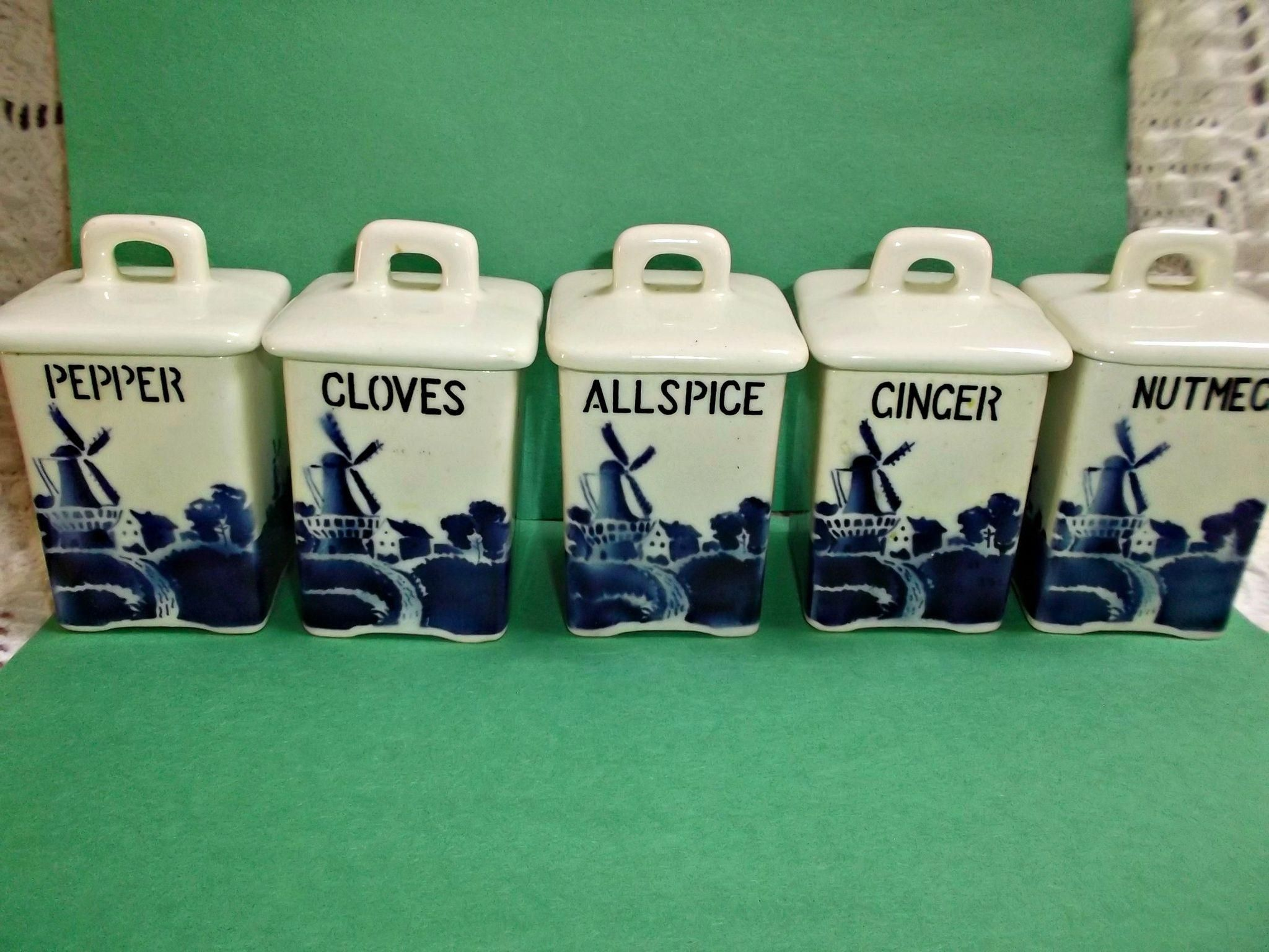 vintage delft blue spice canisters set of five czechoslovakia kitchen ware vintage delft blue spice canisters