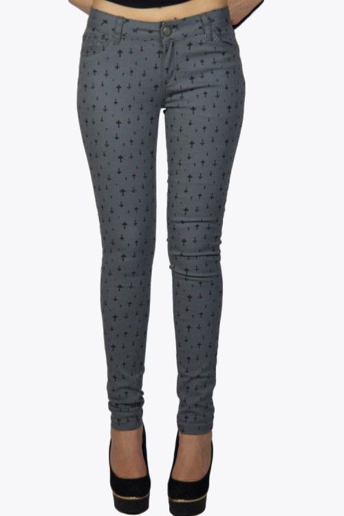 The cross trend is far from over!! Get this grey skinny jeans with the great black cross print on it while it is in the sale. Only a few sizes left.  #2dayslook #leggings  www.2dayslook.com