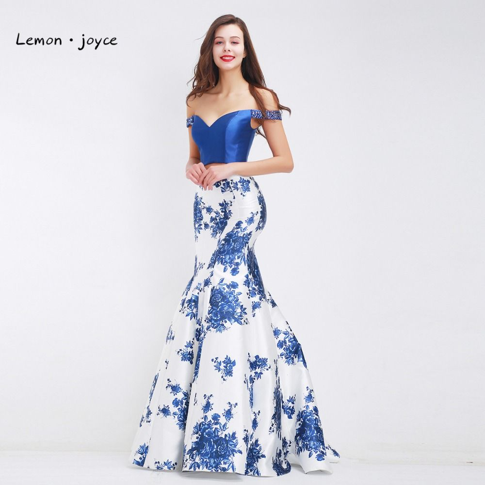Blue floral print evening dresses for women boat neck two piece