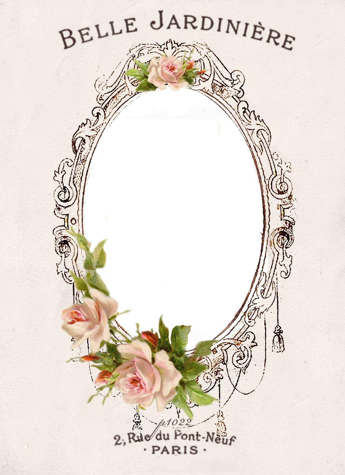 Vintage Roses Frame Convite Artesanato Brasao