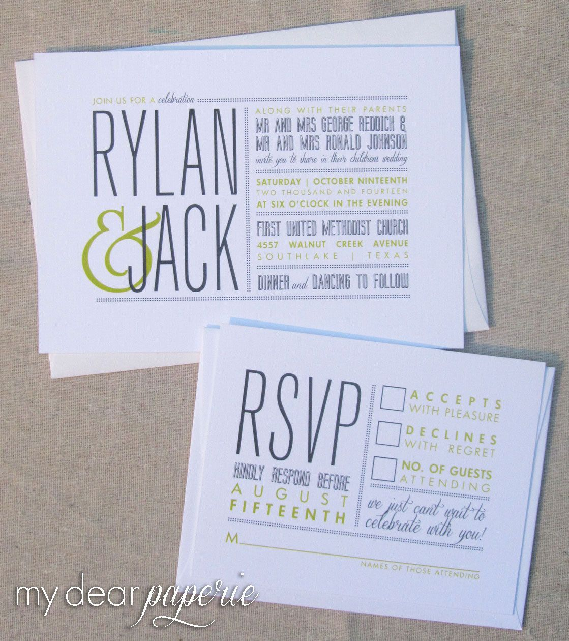 Printable wedding invitation modern wedding gray invitation diy