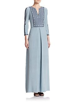 Tory Burch - Embroidered Silk Gown