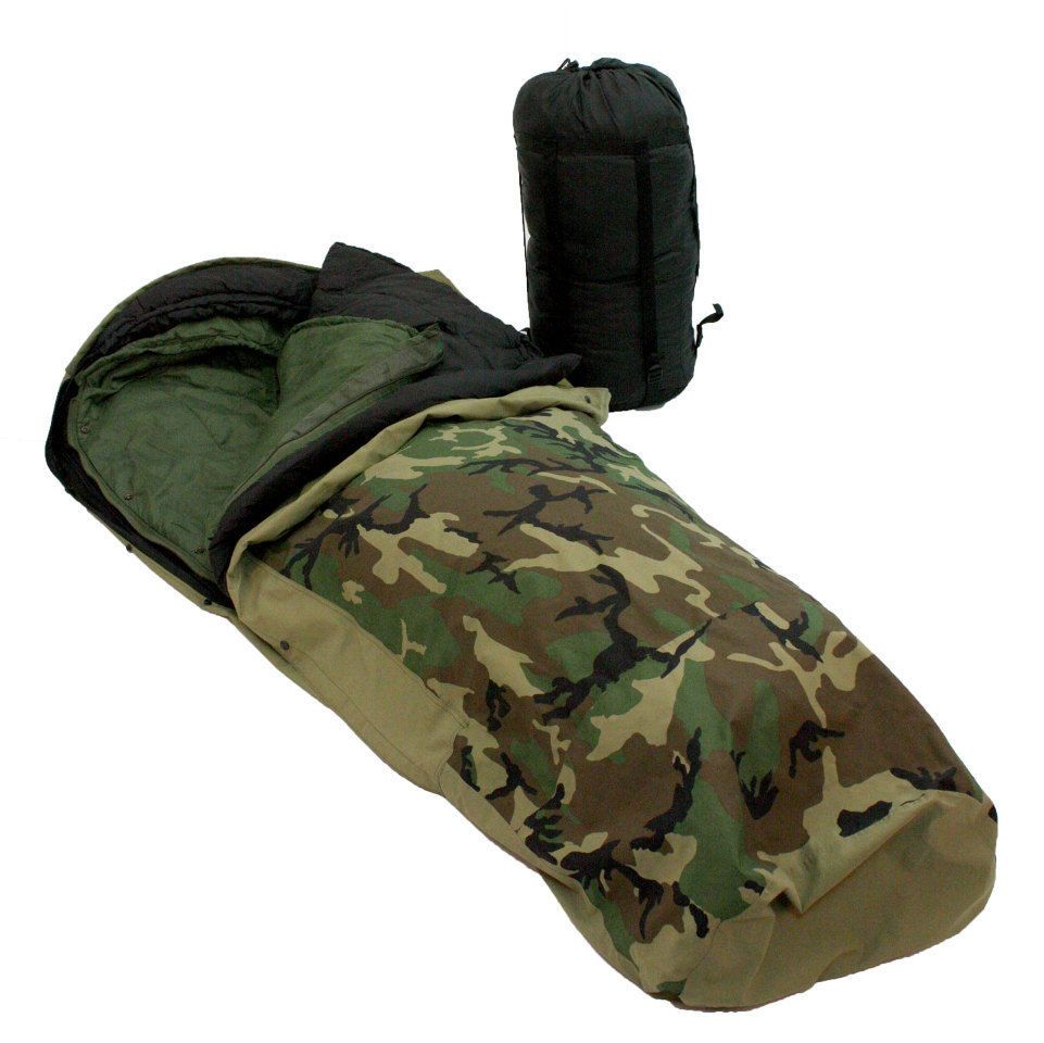 USGI MILITARY 4 PIECE MODULAR SLEEPING BAG SLEEP SYSTEM GORTEX BIVY WOODLAND