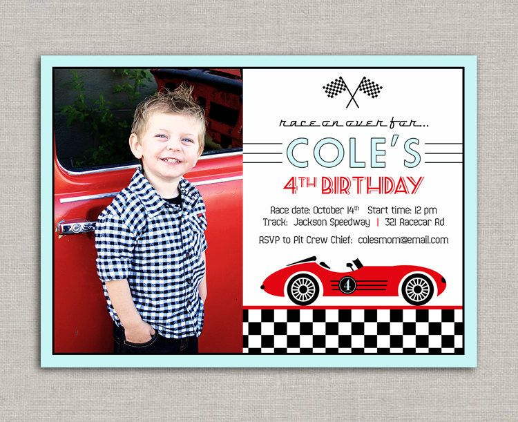 vintage race car birthday invitation. $15.00, via etsy. | finn's, Birthday invitations