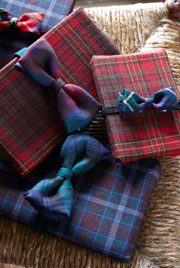 Tartan giftwrap with bow ties.