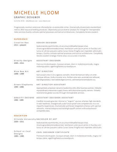 Simple Resume Templates: 73 Clean Samples With Great Typography And A Touch  Of Color. Great Designs For A Job In Traditional Field That Values  Creativity